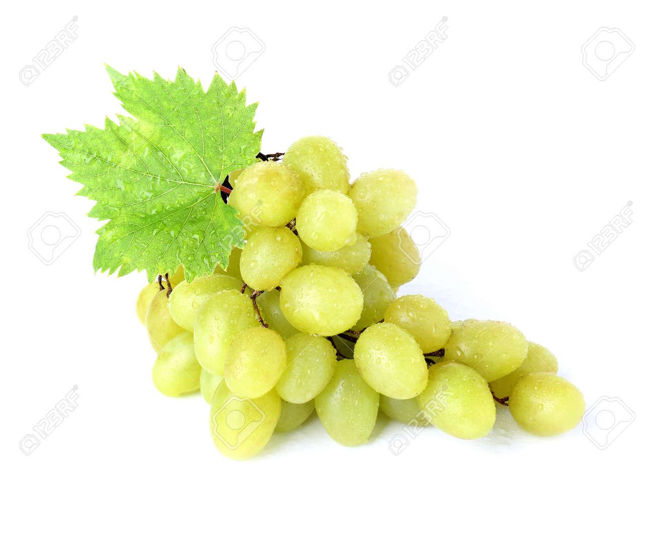 Tasty fresh grapes on white background - 165346003