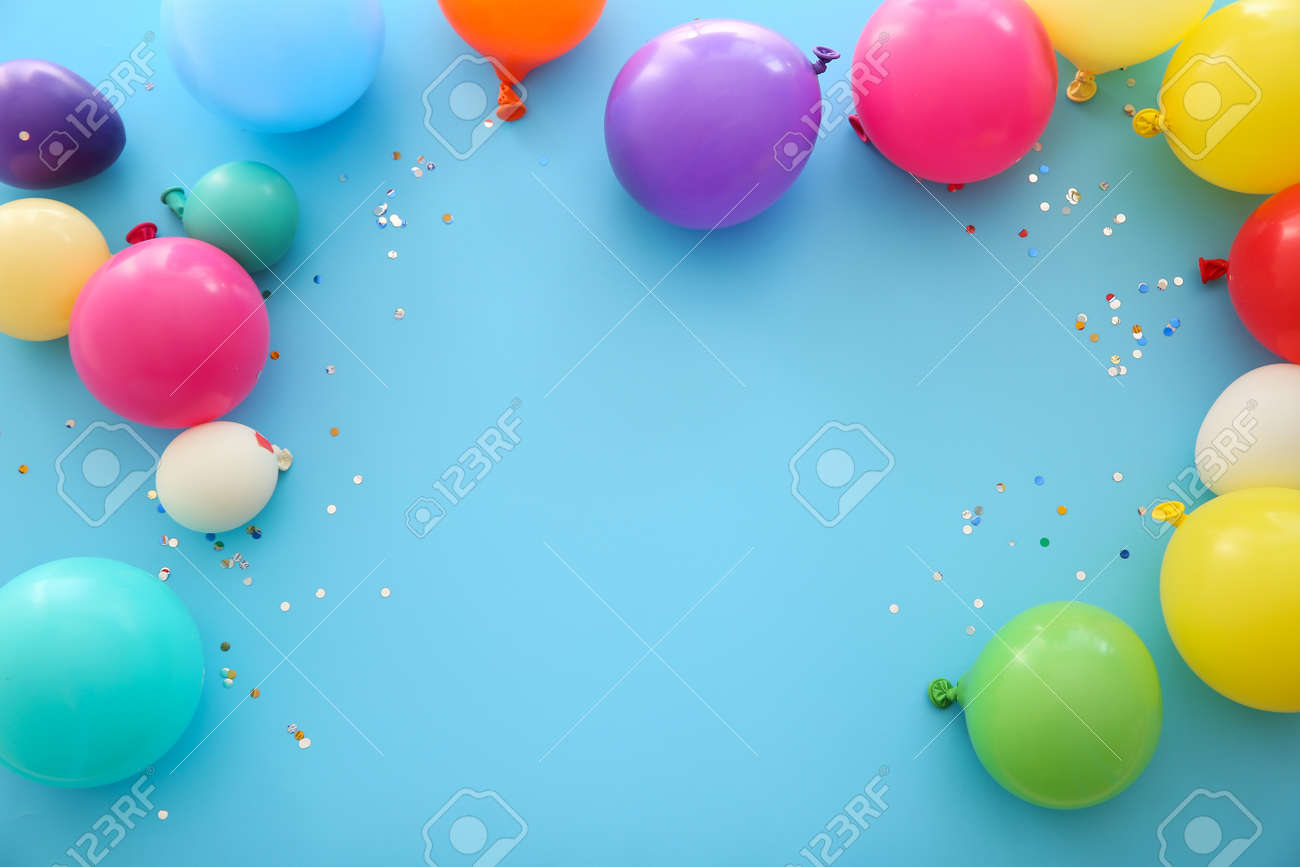 Many balloons on color background - 165425207