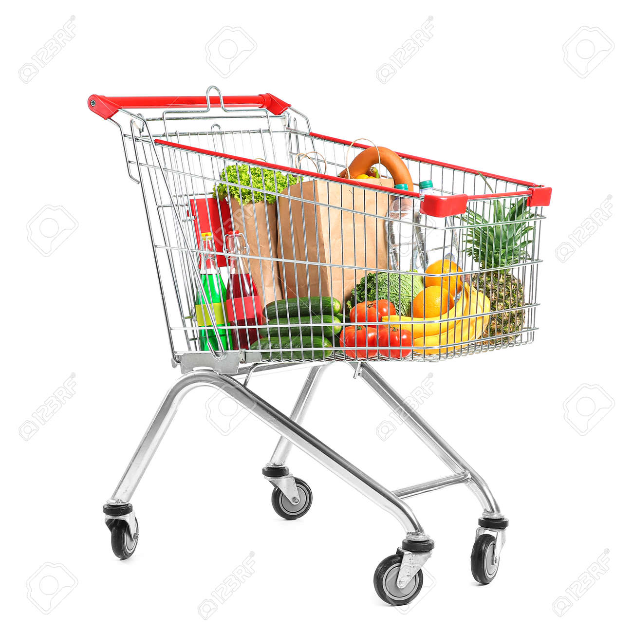 Shopping cart with products on white background - 165720576
