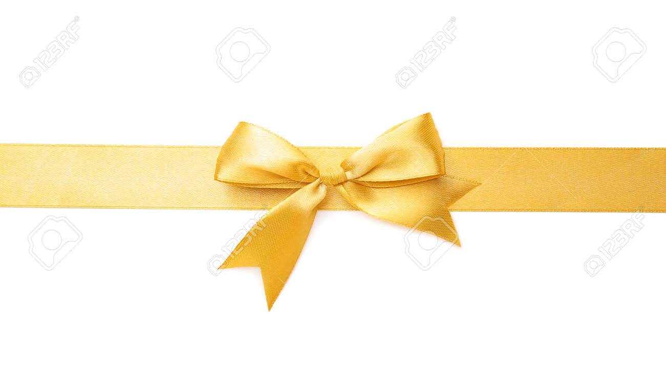 Golden ribbon with beautiful bow on white background - 165731489