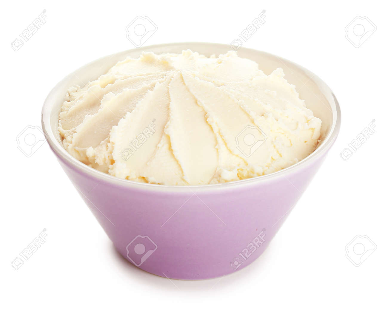 Bowl with tasty cream cheese on white background - 165911847