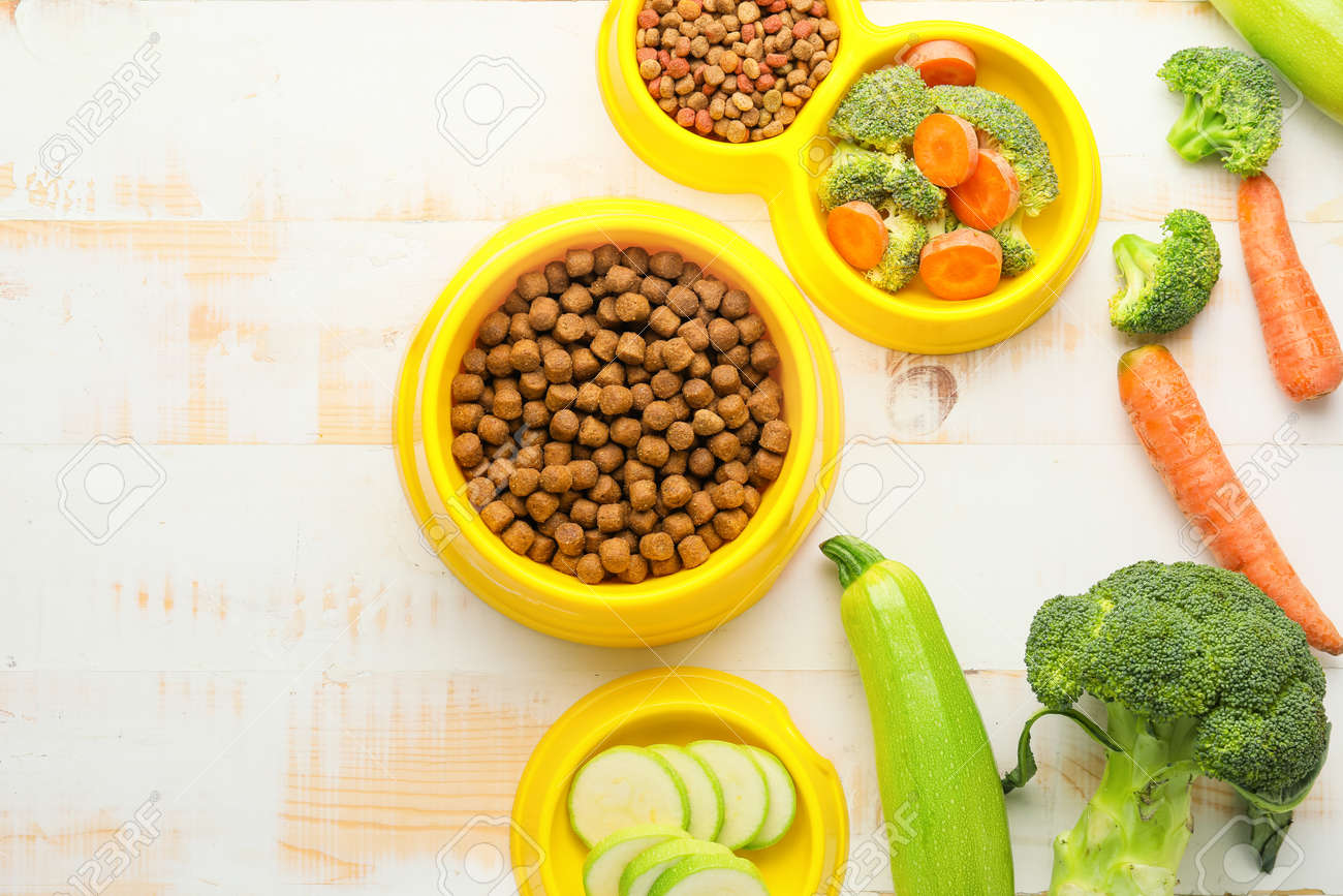 Composition with dry pet food and natural products on wooden background - 166030827