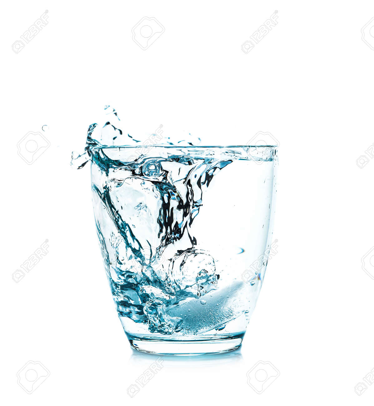 Glass of fresh water with splash on white background - 166059001