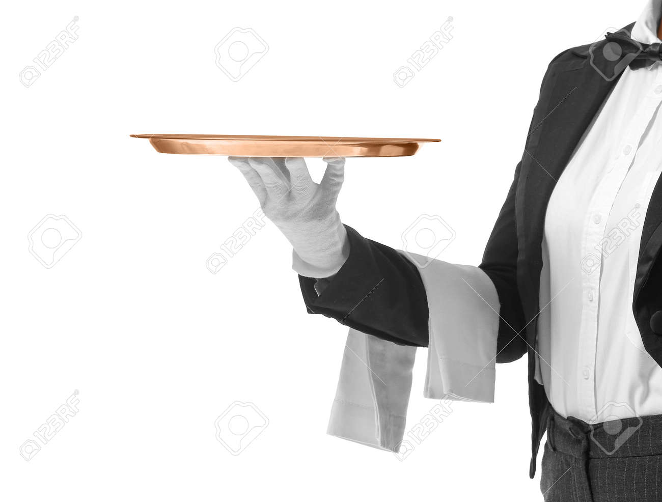 Beautiful female waiter with empty tray on white background - 166501832