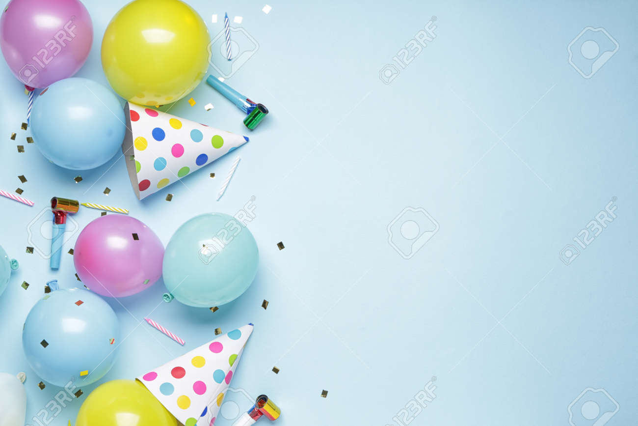 Birthday composition on color background - 166247358