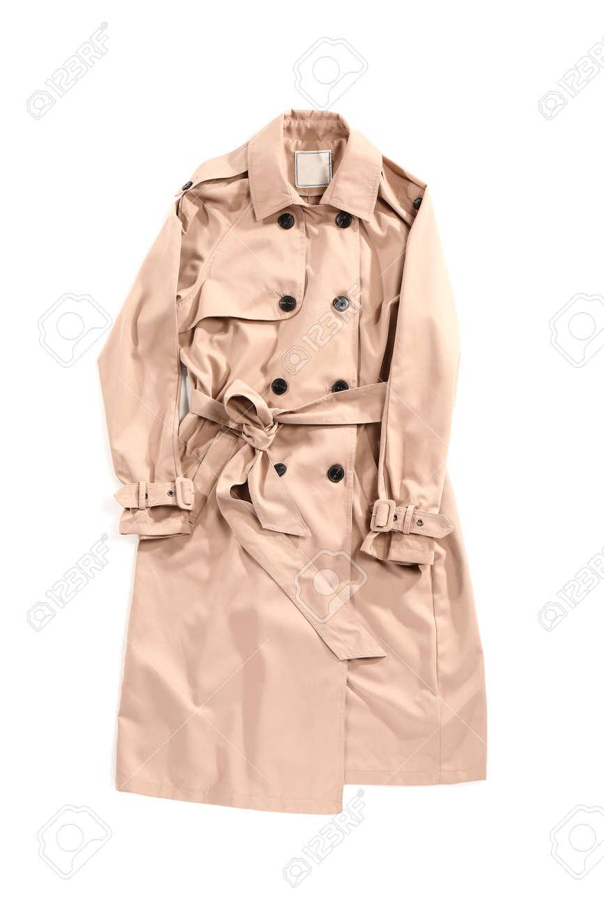 Stylish coat on white background - 166659698
