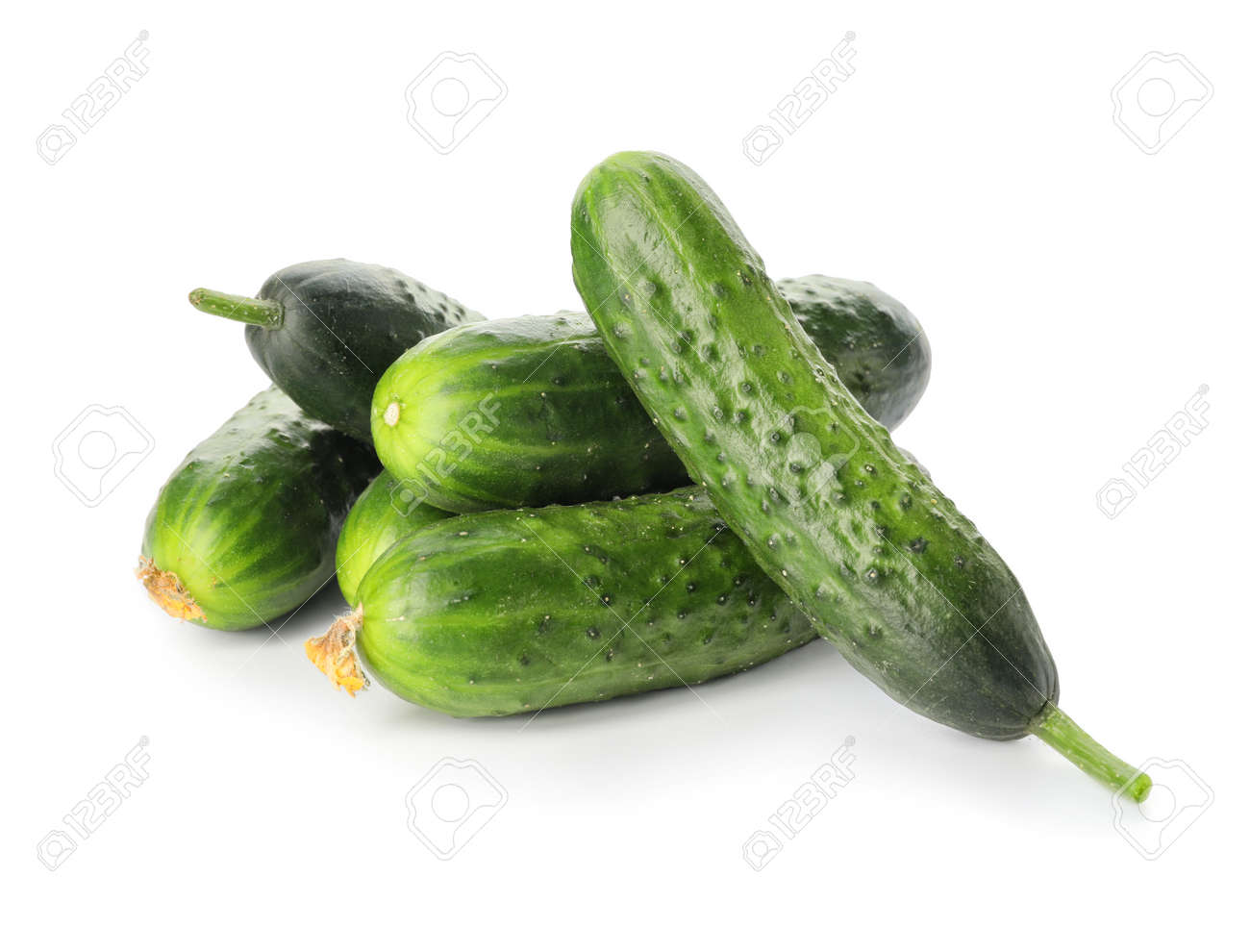 Green cucumbers on white background - 166437561