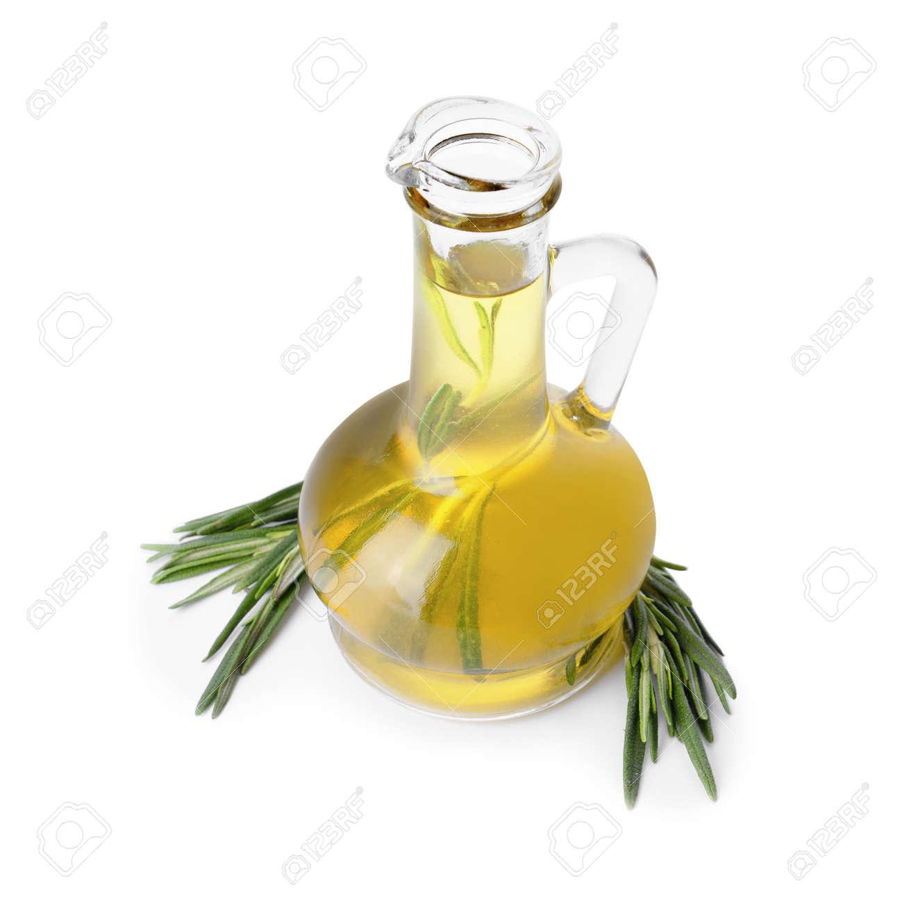 Bottle of rosemary oil on white background - 166655405