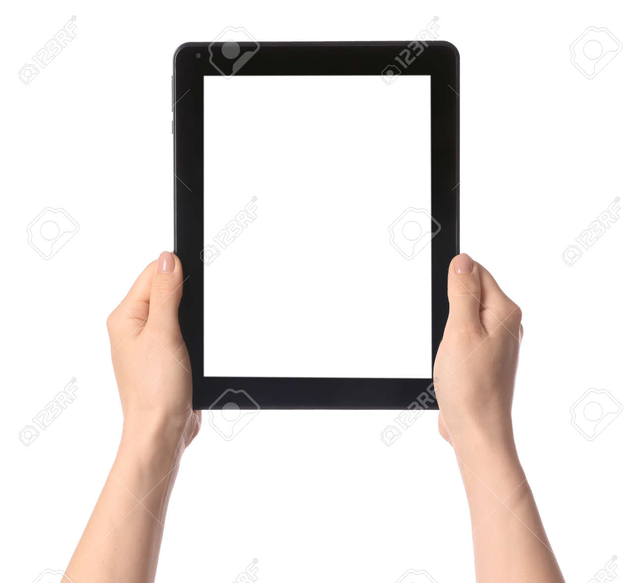 Hands with modern tablet computer on white background - 169058773