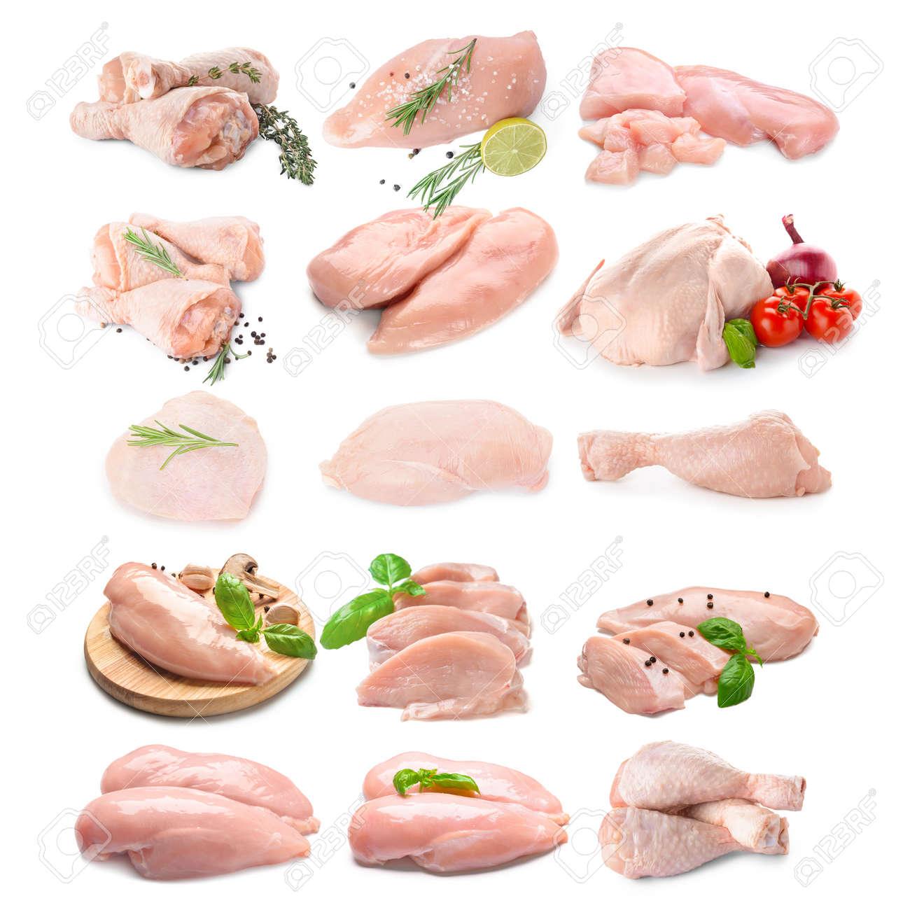 Fresh chicken meat on white background - 169067924
