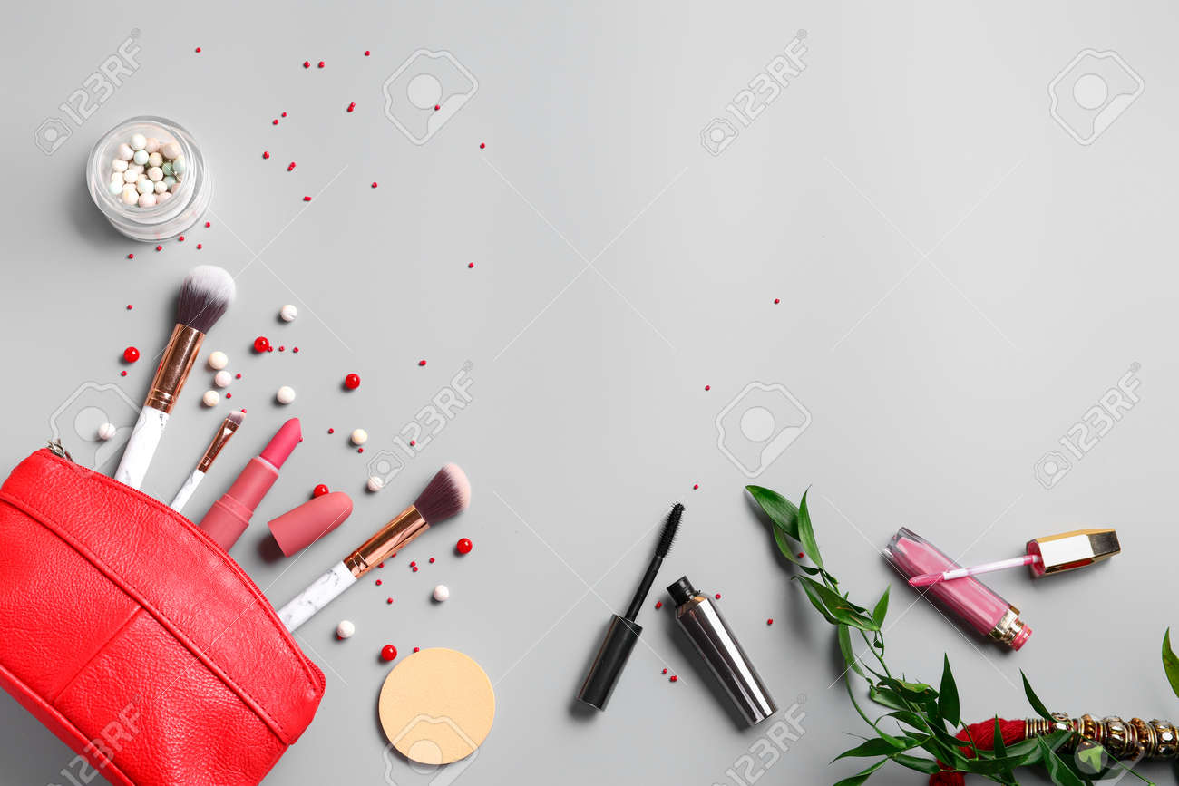 Set of decorative cosmetics and accessories on light background - 169076329