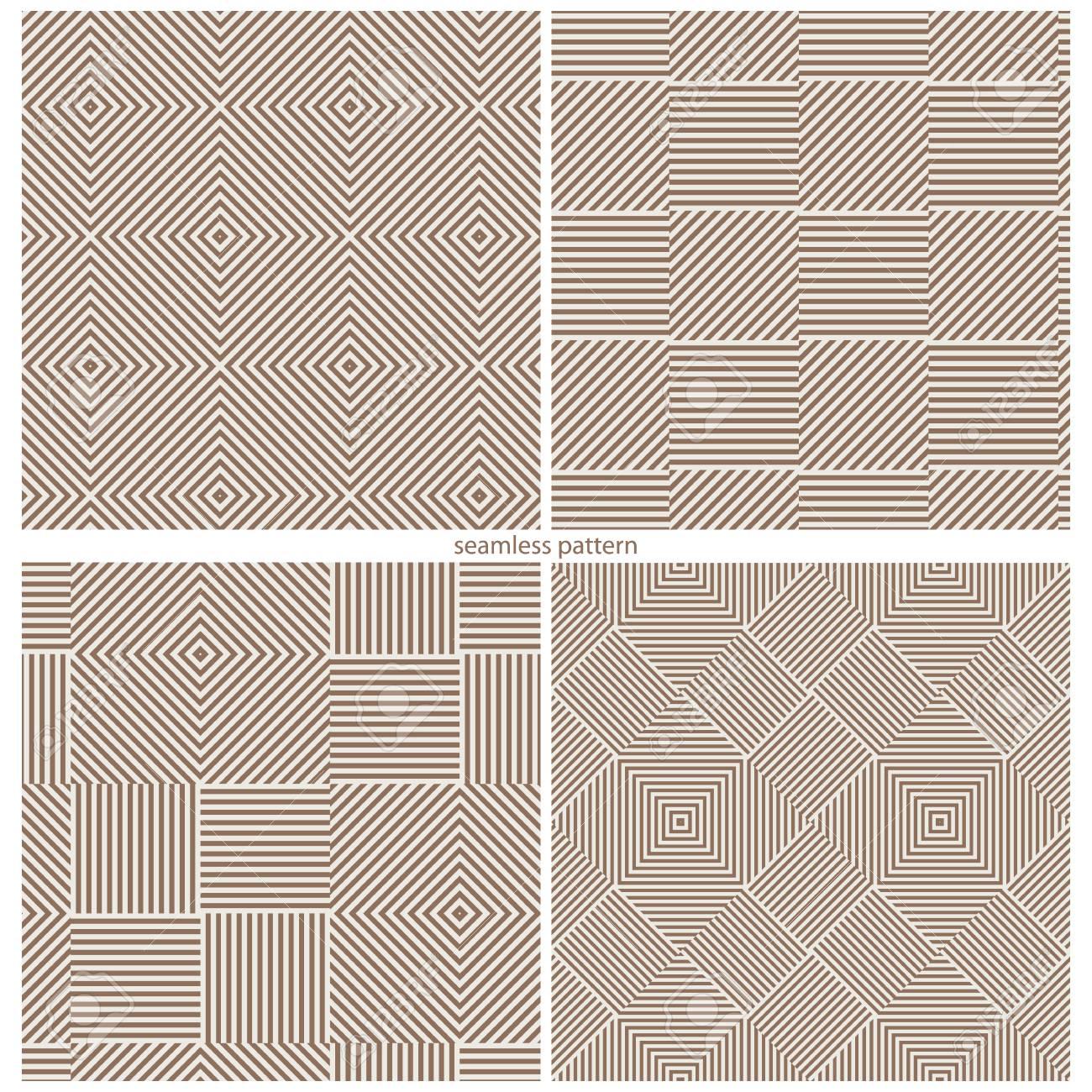 Un Conjunto De Patrones De Costura De Tiras Y Plazas. Ilustración ...