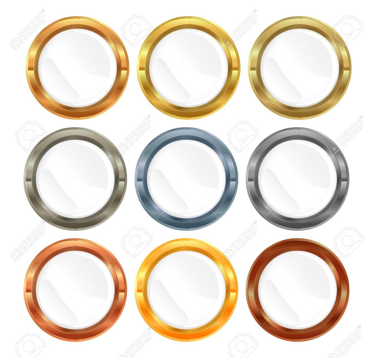 12d5ade5004d Colección de vectores de metal etiquetas de oro platino plata de bronce de  bronce de cobre