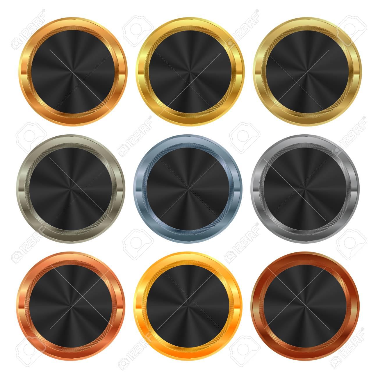 56d79a32d6b4 Foto de archivo - Vectorial Colección de etiquetas de metal Platino Oro  Plata bronce de cobre de aluminio con inserto de latón negro para el texto