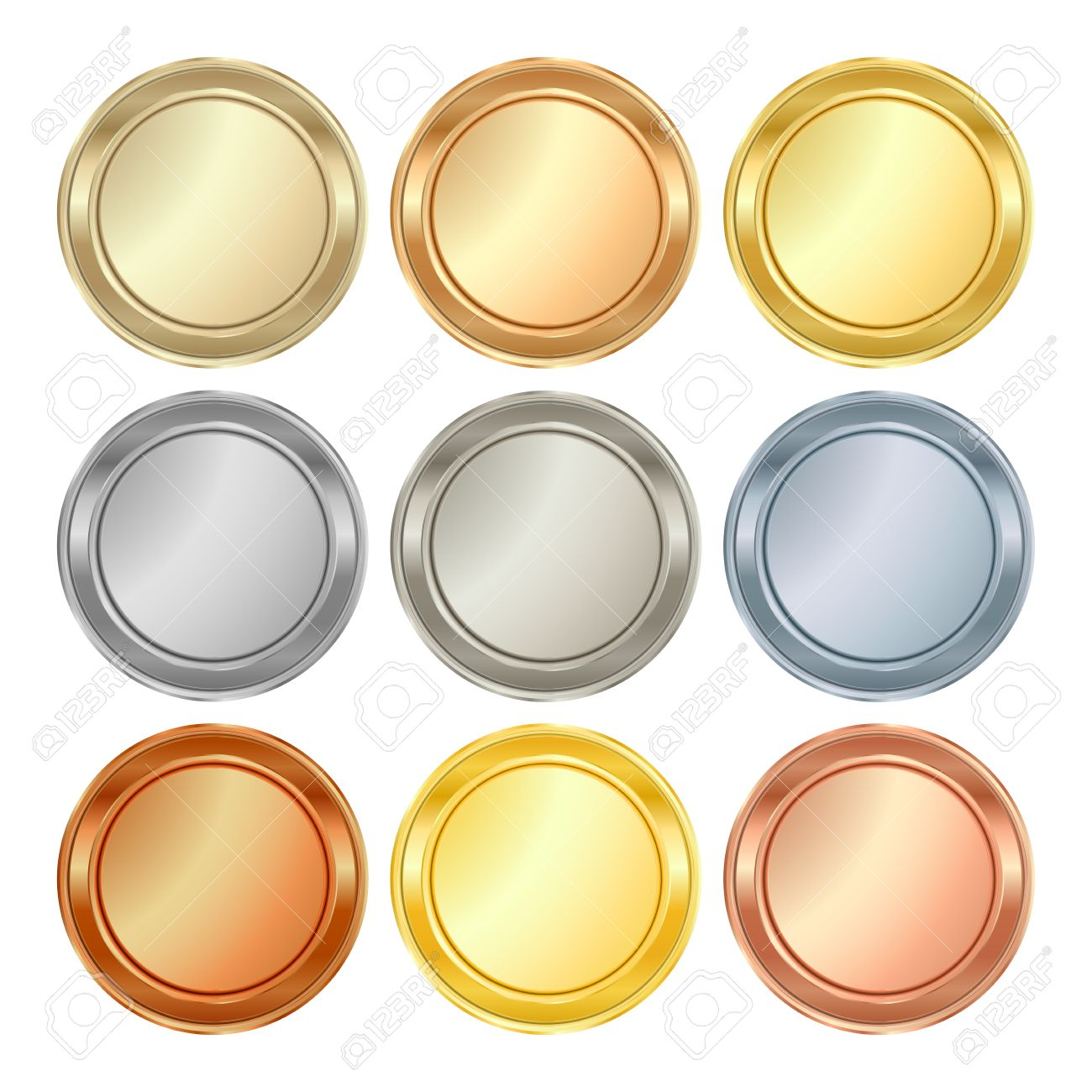 vector round blank templates from gold platinum silver bronze copper brass which can be used as print medals badges coins medals tags labels - 55812973