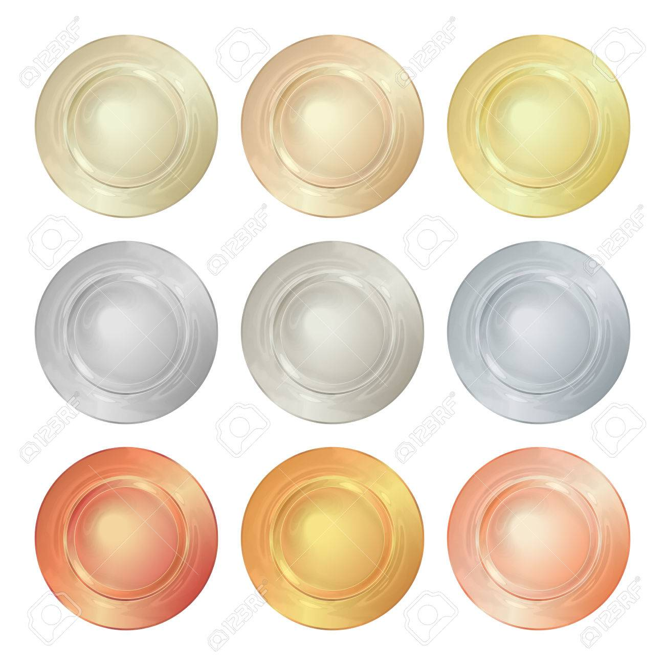 Vector Round Empty Polished Templates From Gold Platinum Silver