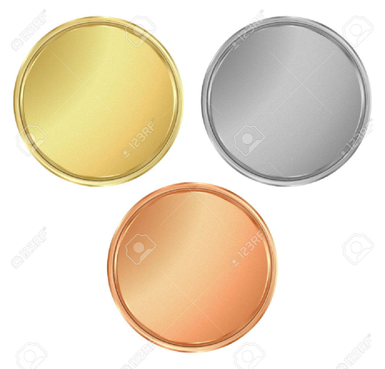 round empty textured gold silver bronze medals. It can be used as a coin button icons - 58385498