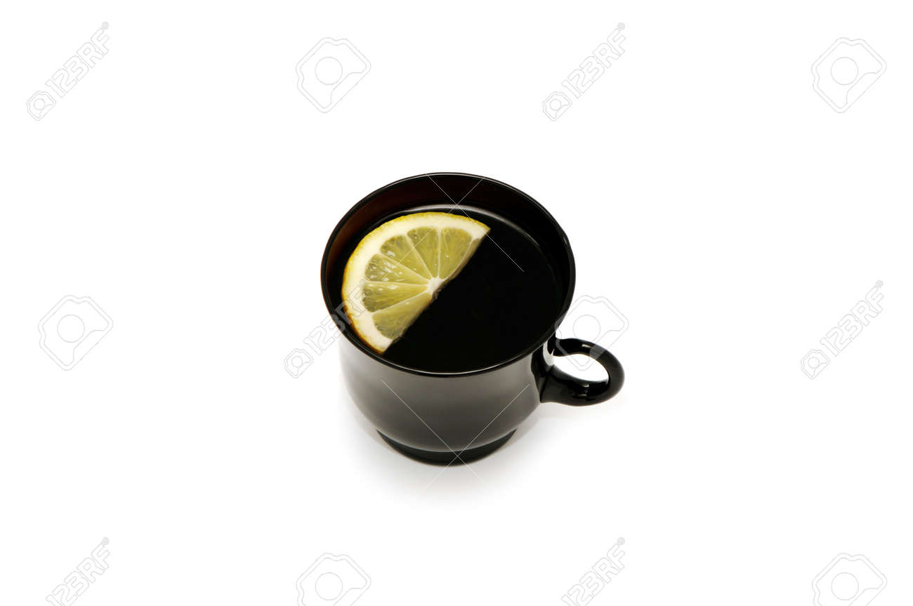 Cup with tea and a lemon isolated on a white background Stock Photo - 2485952