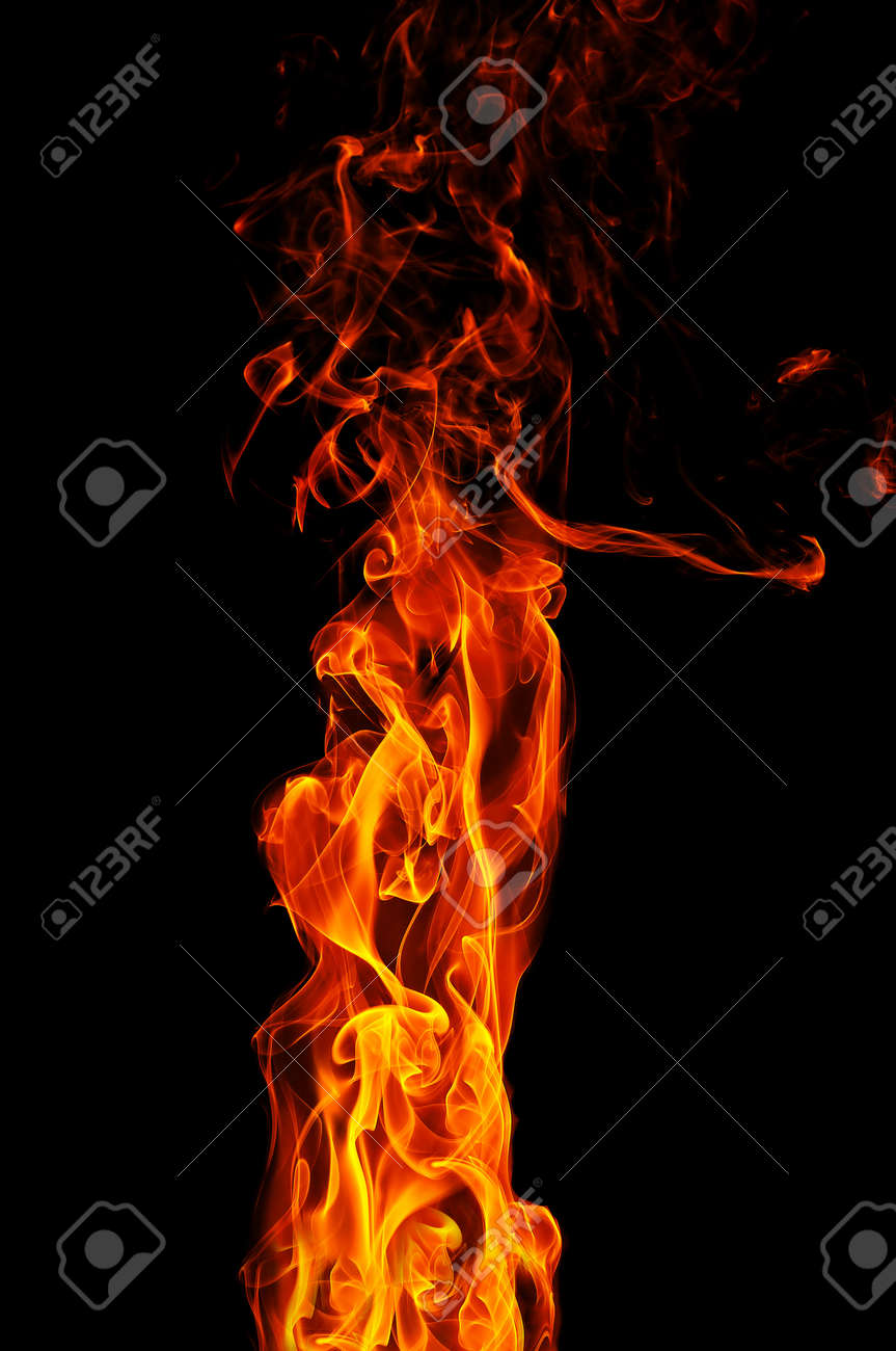 fire on a black background Stock Photo - 9359046