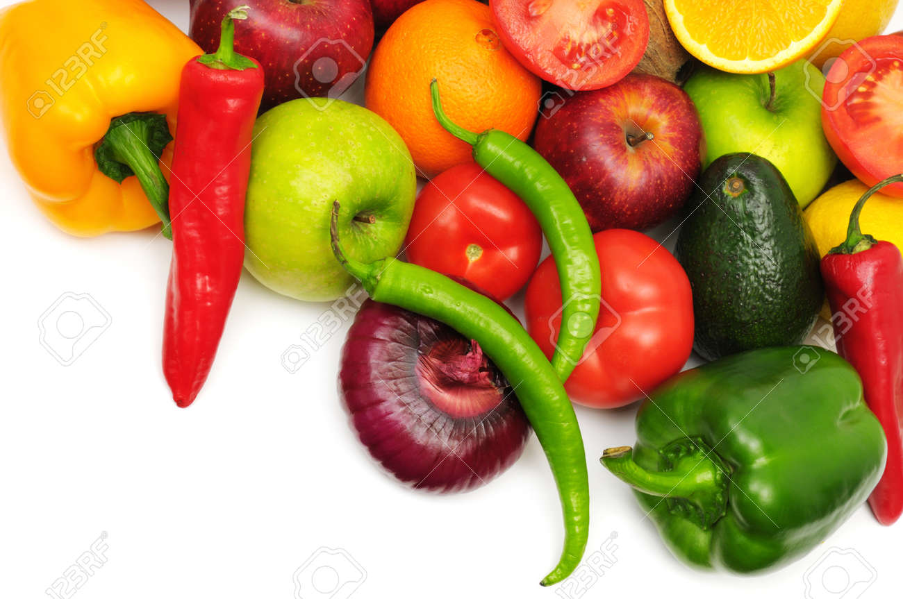 fruits and vegetables  isolated on a white background Stock Photo - 9359051