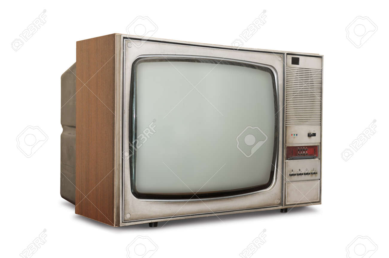 Old-fashioned tube TV isolated on a white background. Stock Photo - 9515639
