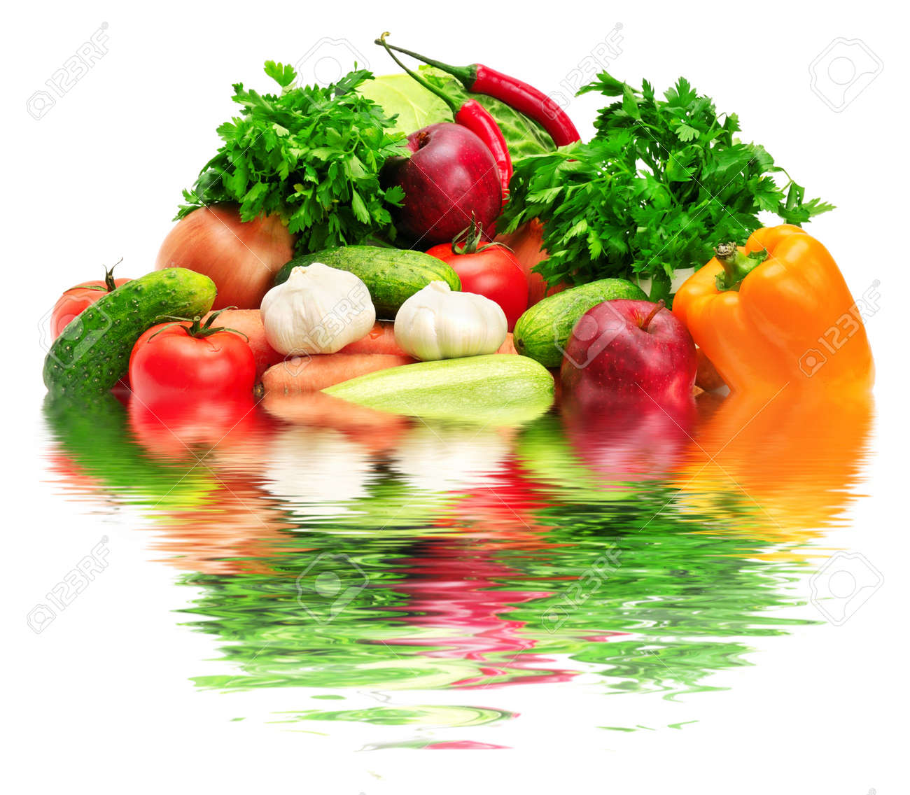fruits and vegetables reflected in water Stock Photo - 10414813