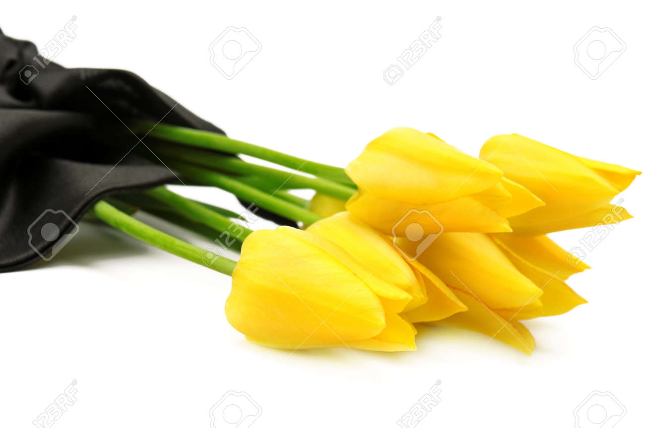 Bouquet Of Yellow Flowers For A Funeral Isolated On A White