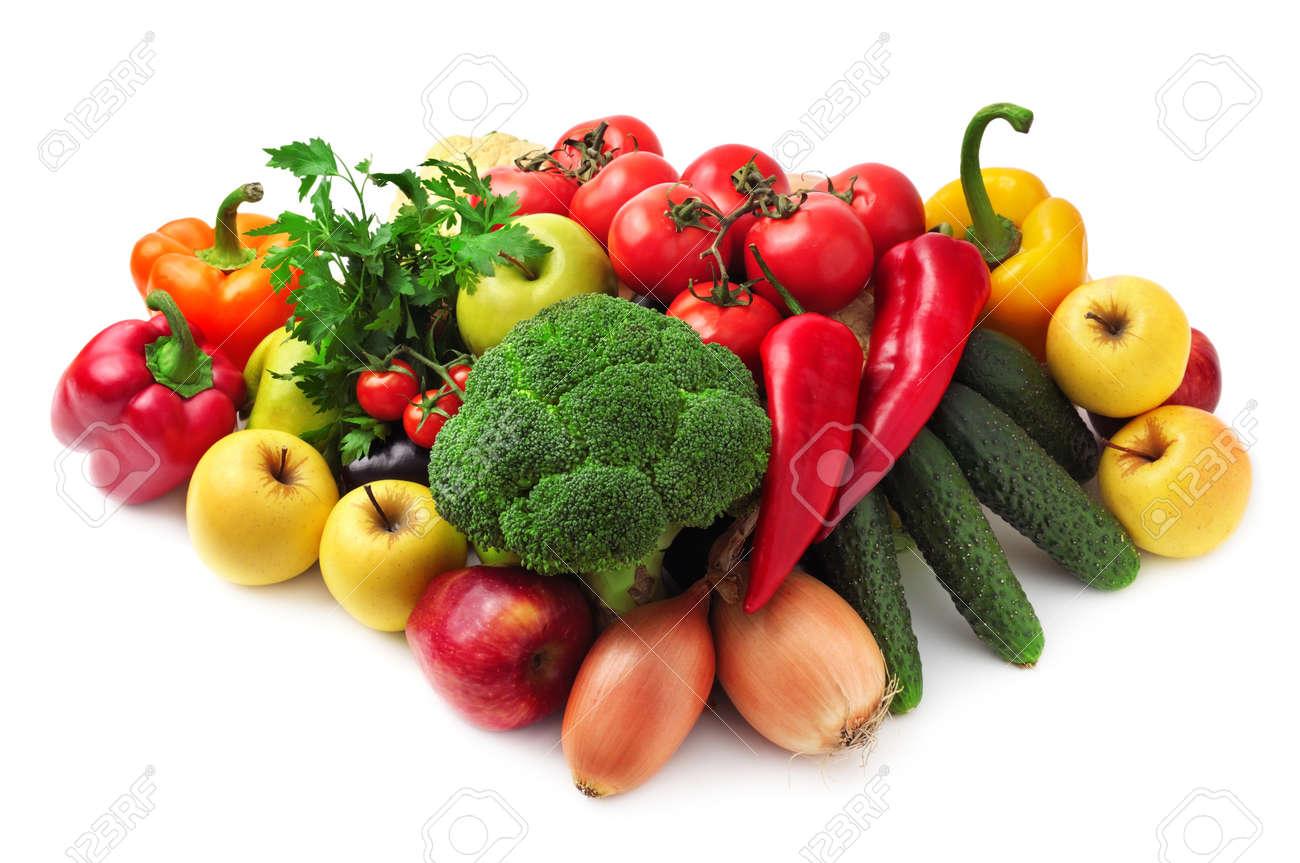 collection fruits and vegetables isolated on a white background - 11979765