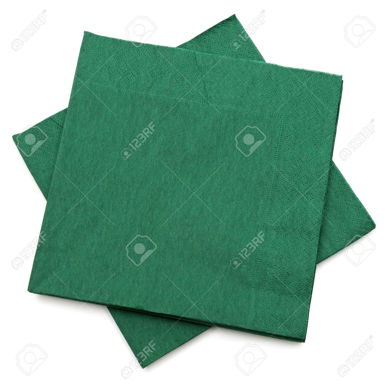 green napkins isolated on a white background - 13610543