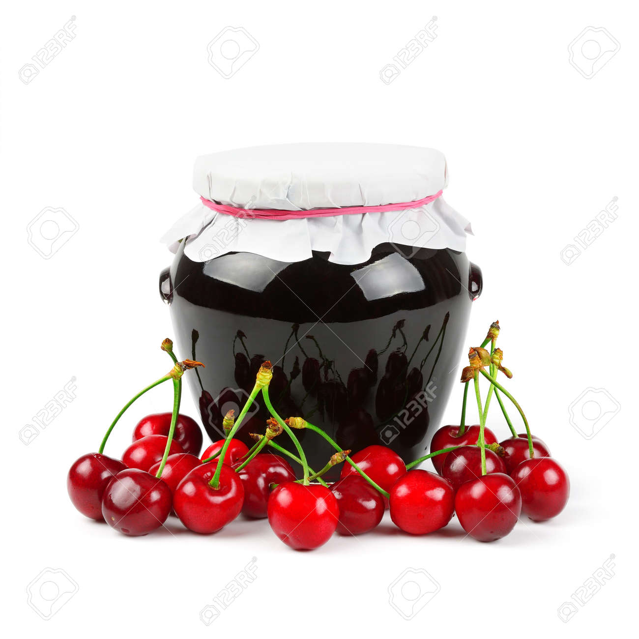 Cherry jam isolated on white background Stock Photo - 13814847