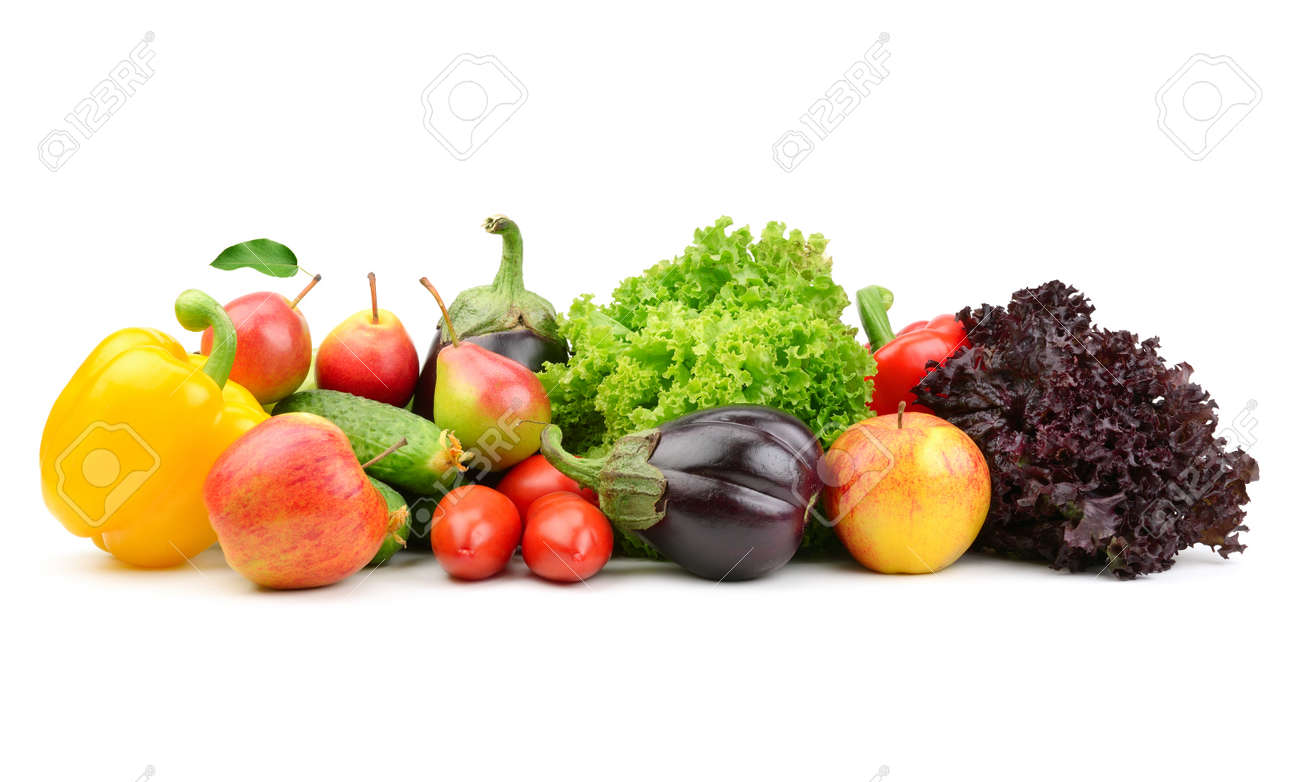 collection fruits and vegetables isolated on a white background - 15282982