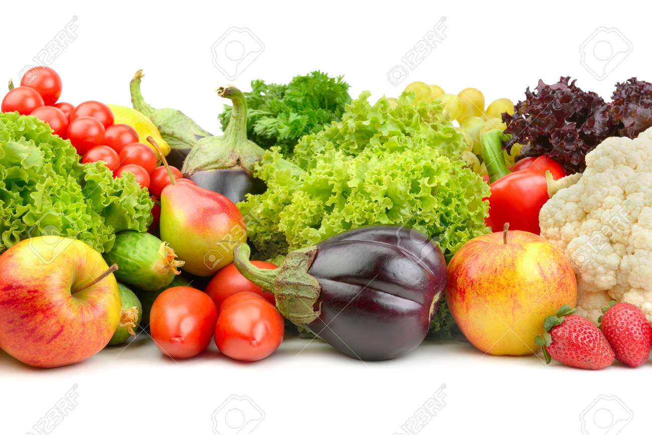 fruits and vegetables isolated on a white background - 17437706