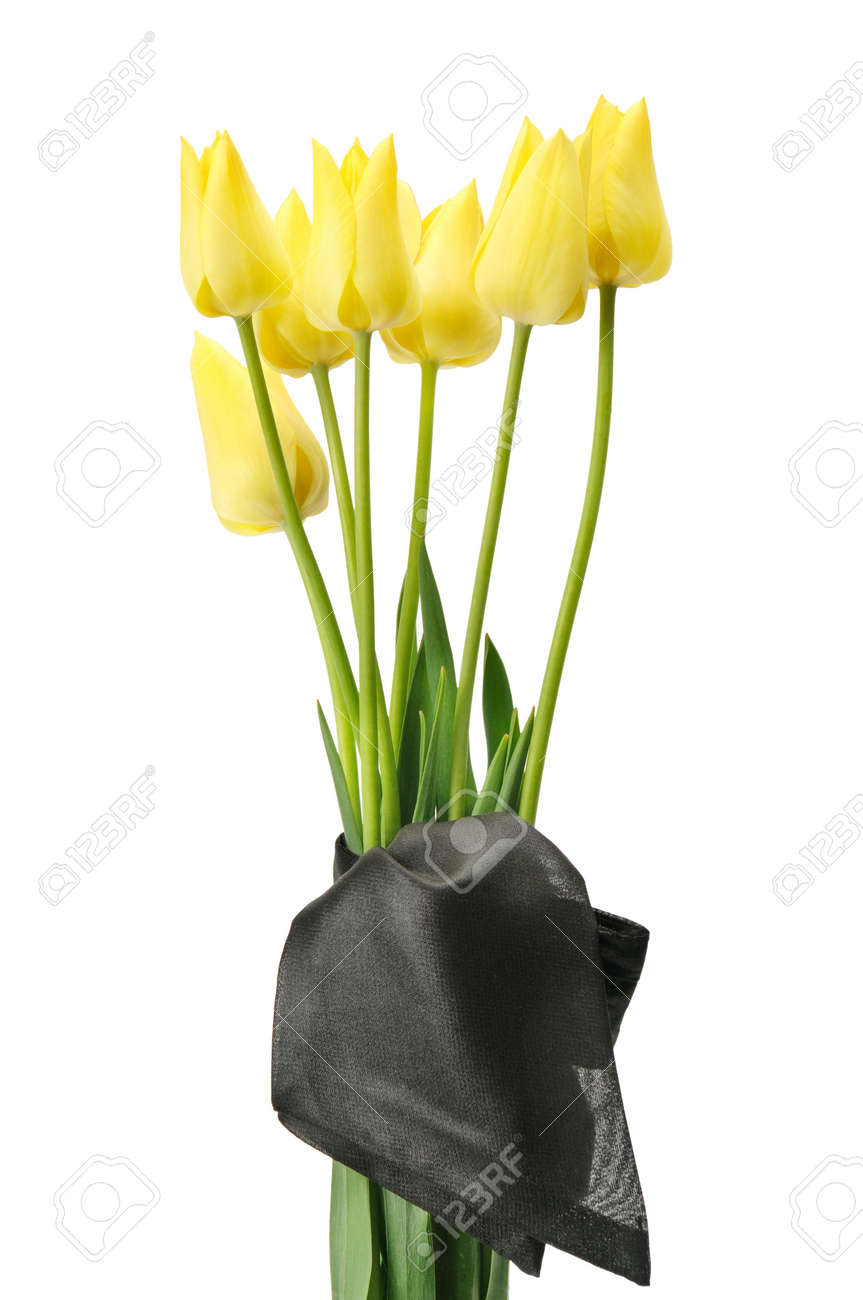 bouquet of yellow flowers for a funeral isolated on a white background - 17816614
