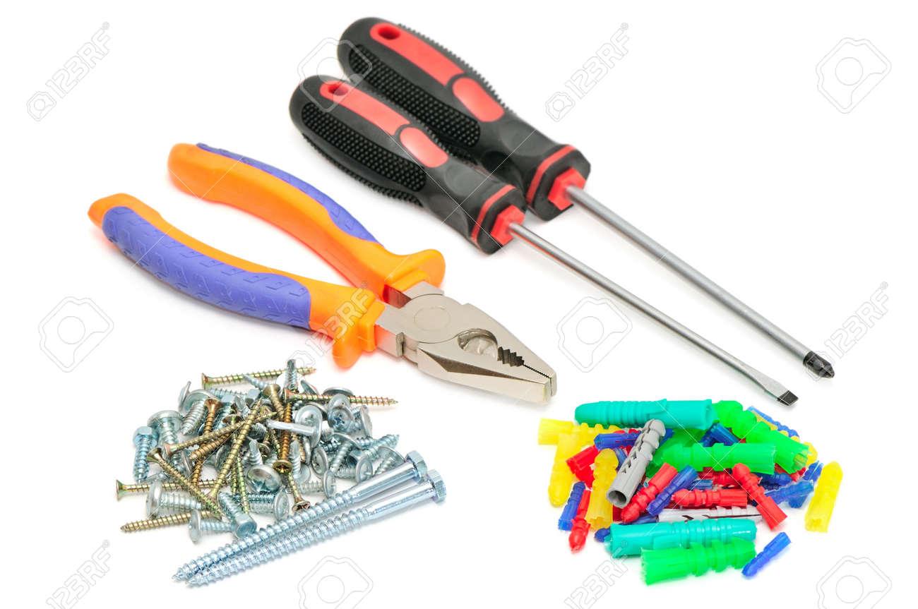 set tools isolated on white background Stock Photo - 18087059