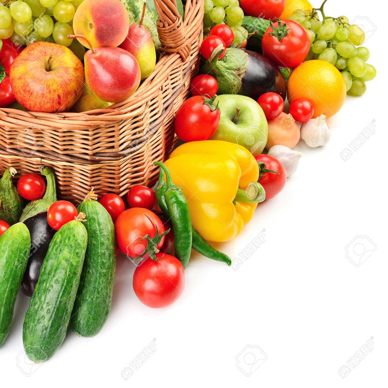fruit and vegetable in basket isolated on white background Stock Photo - 19408152