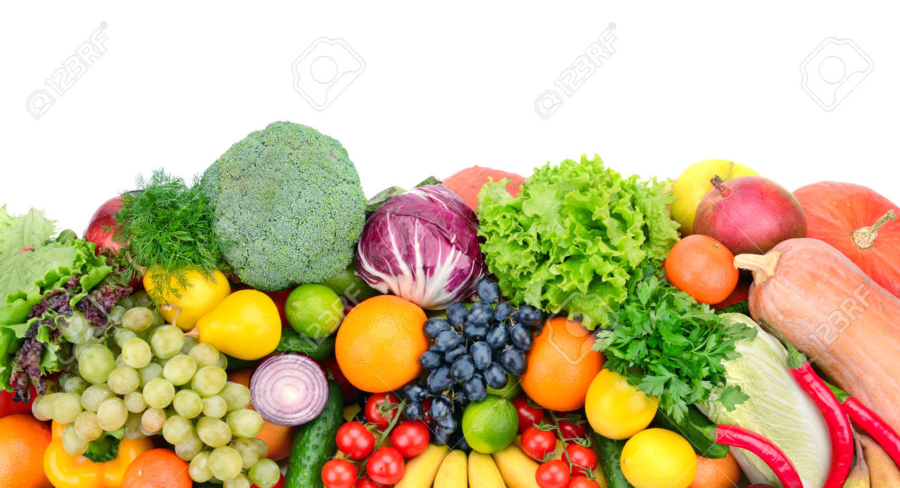 fresh fruits and vegetables isolated on white background - 27313948