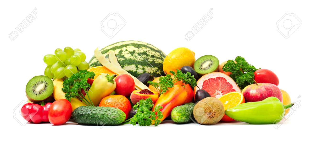 Collection fruit and vegetables on white - 34393378