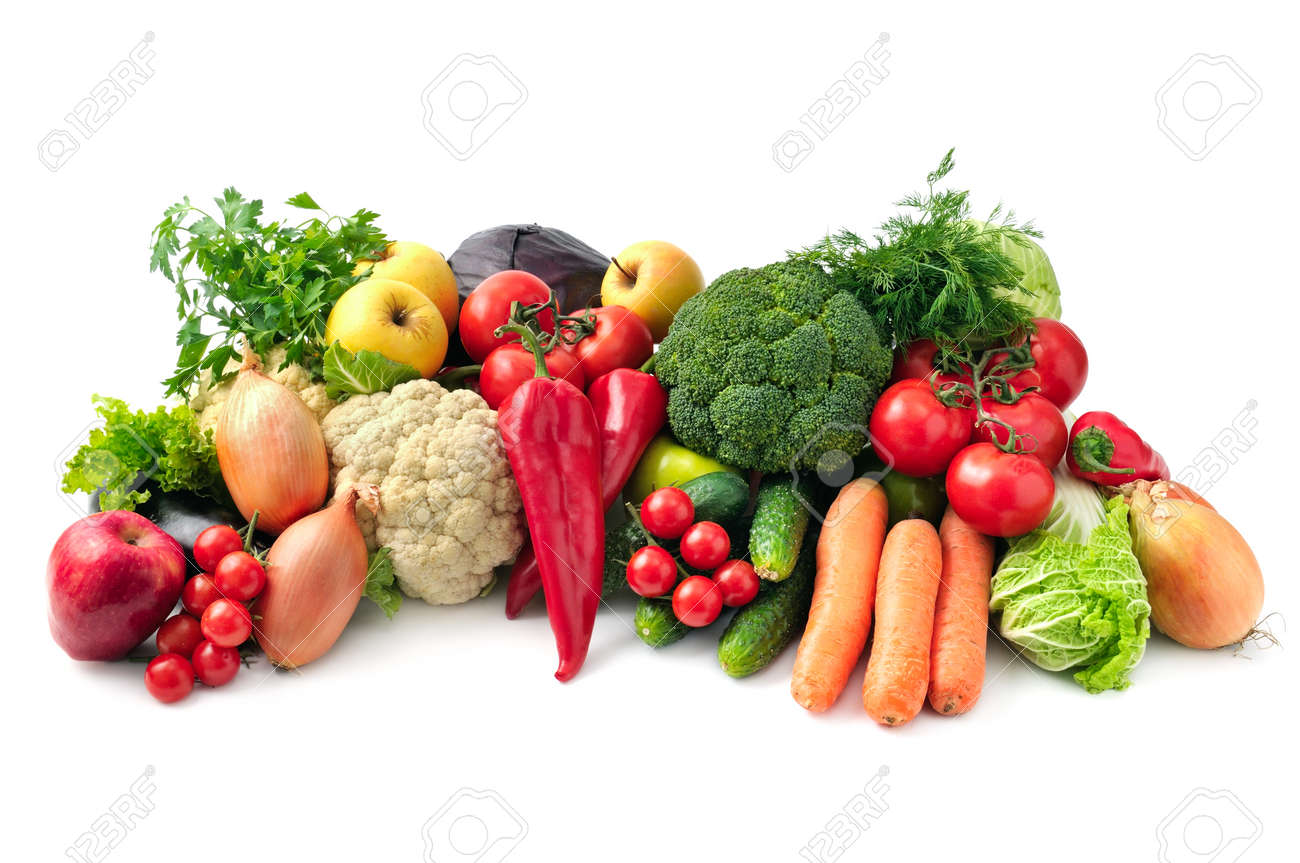 fresh fruits and vegetables isolated on white background - 39578346