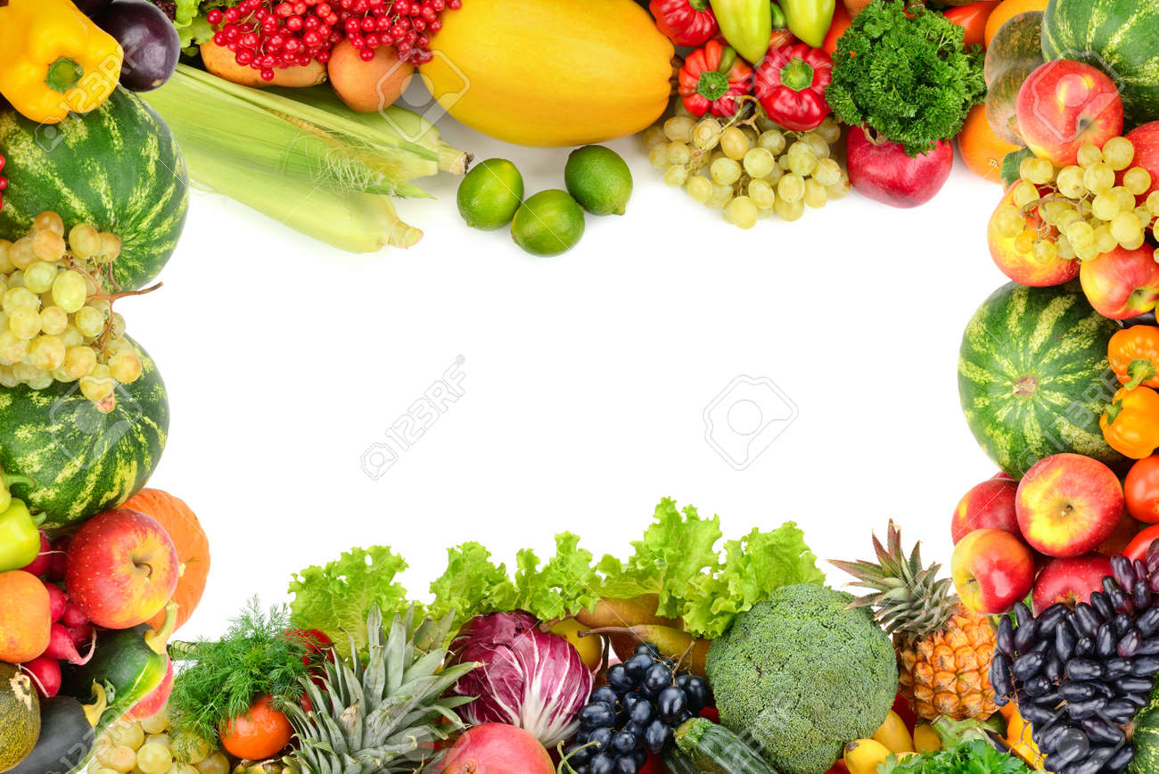 Frame of vegetables and fruits on white - 43766491