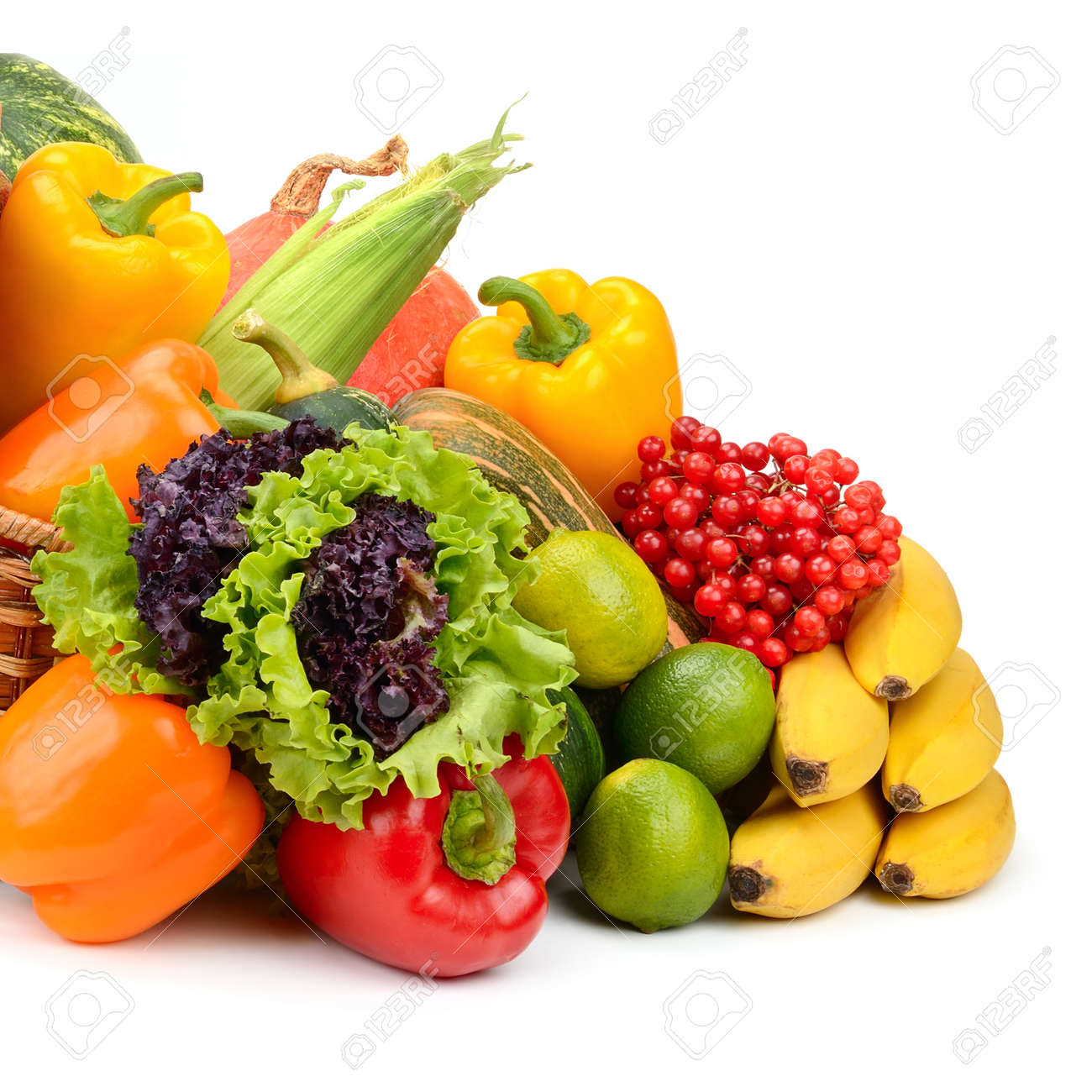composition of fruits and vegetables in basket on white - 44303018