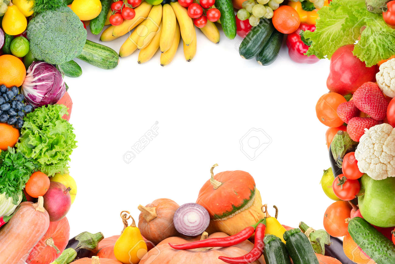 Frame of vegetables and fruits on white - 44303054