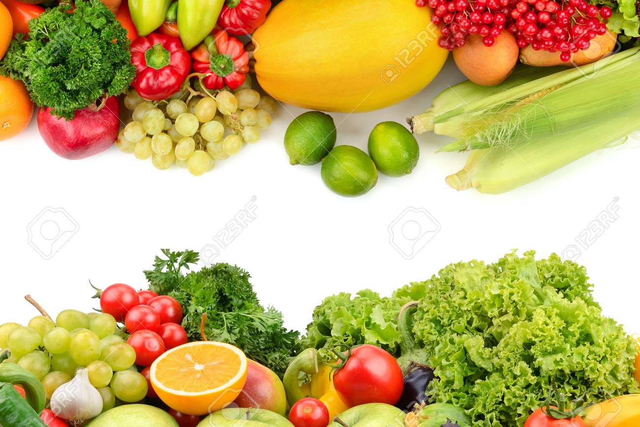 fruits and vegetables isolated on a white background - 50849580