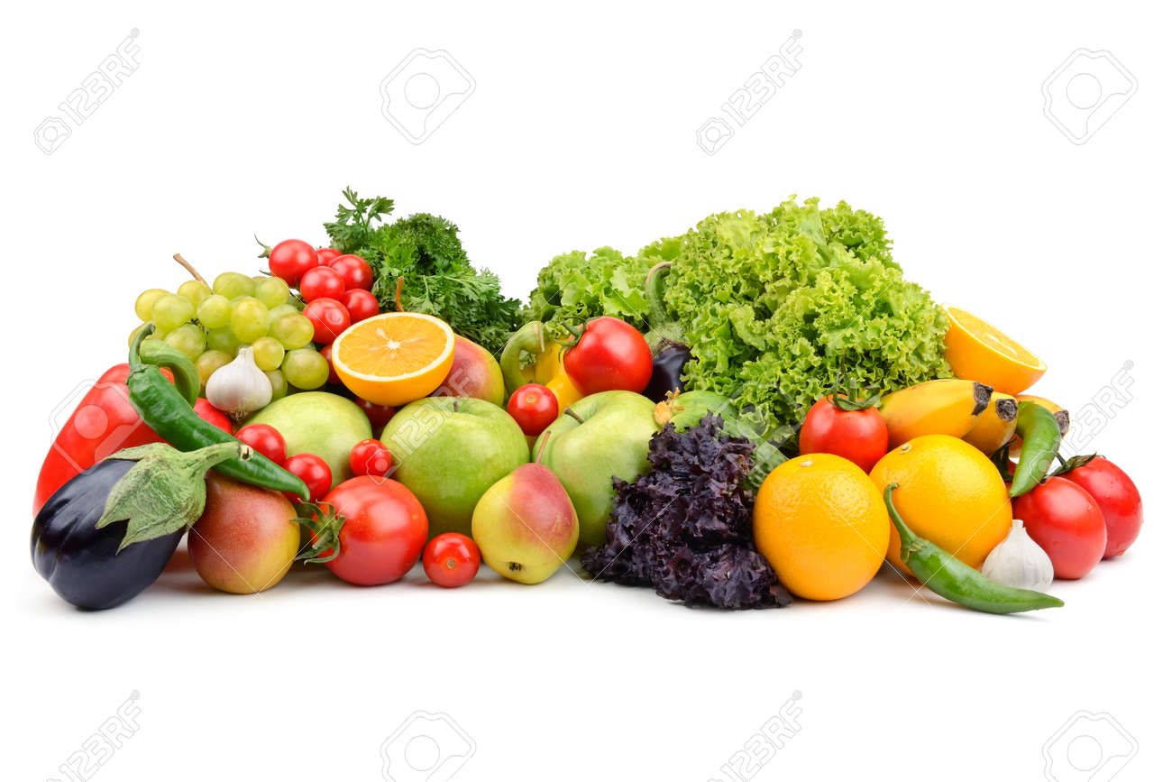 fruits and vegetables isolated on a white background - 53923298