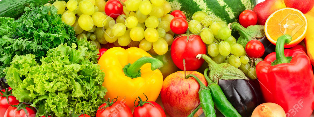 fresh fruits and vegetables background - 58985810