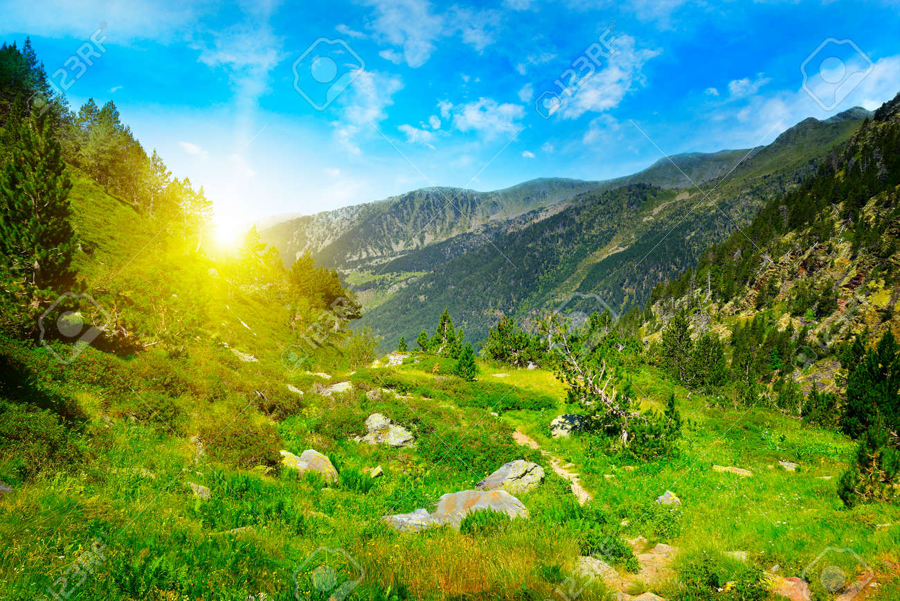 Beautiful sunrise in high mountains and blue sky, Andorra, Pyrenees - 60386202
