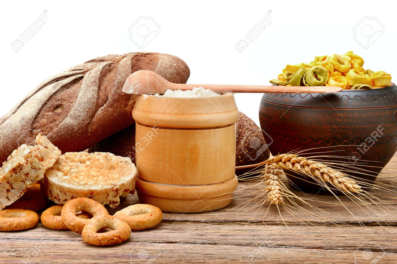 Food products made from wheat  Isolated on white