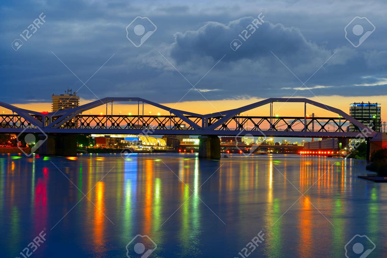 Bridge over the Neckar River, city of Mannheim, Germany