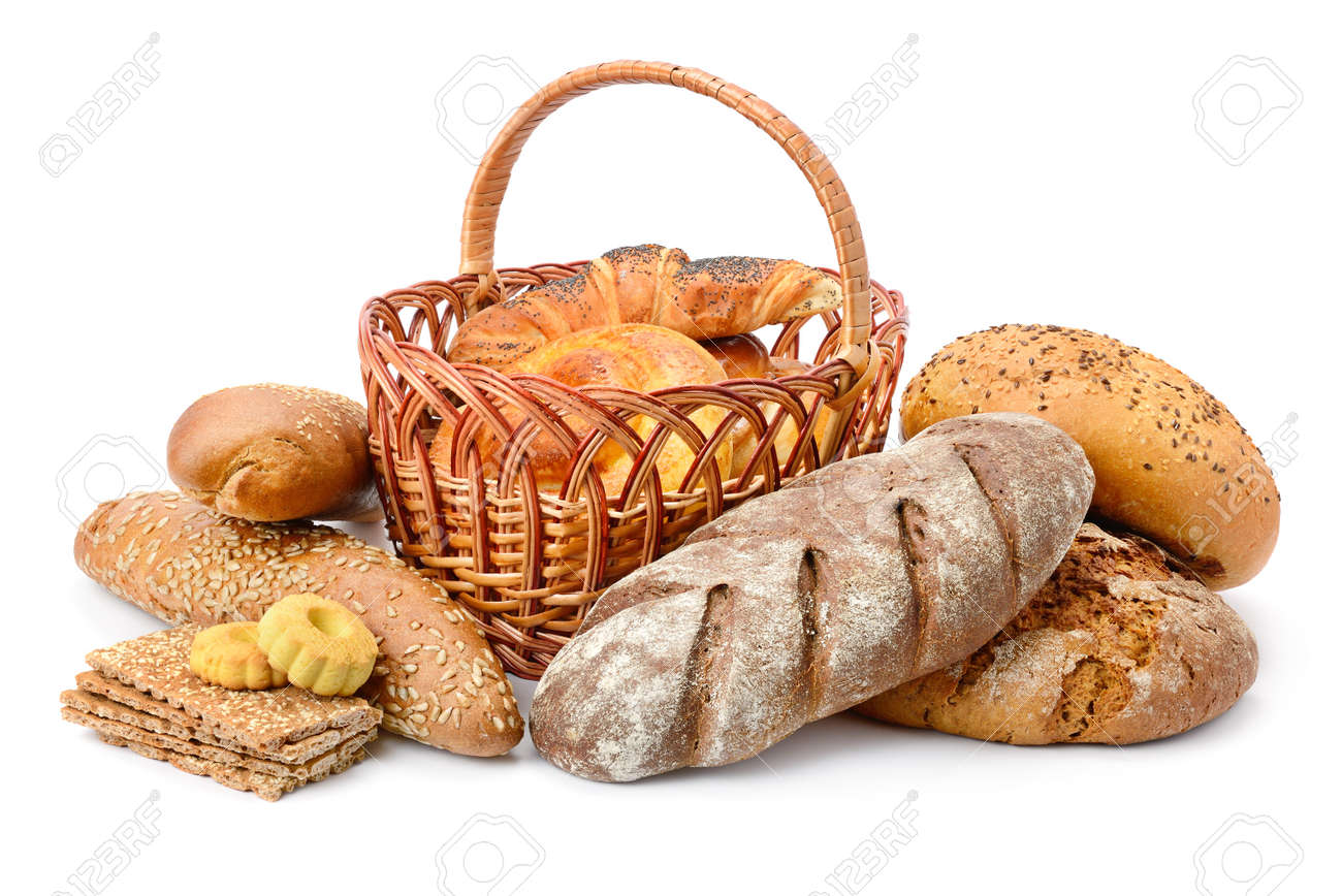 Fresh bread, buns and cookies isolated on white background - 104882414