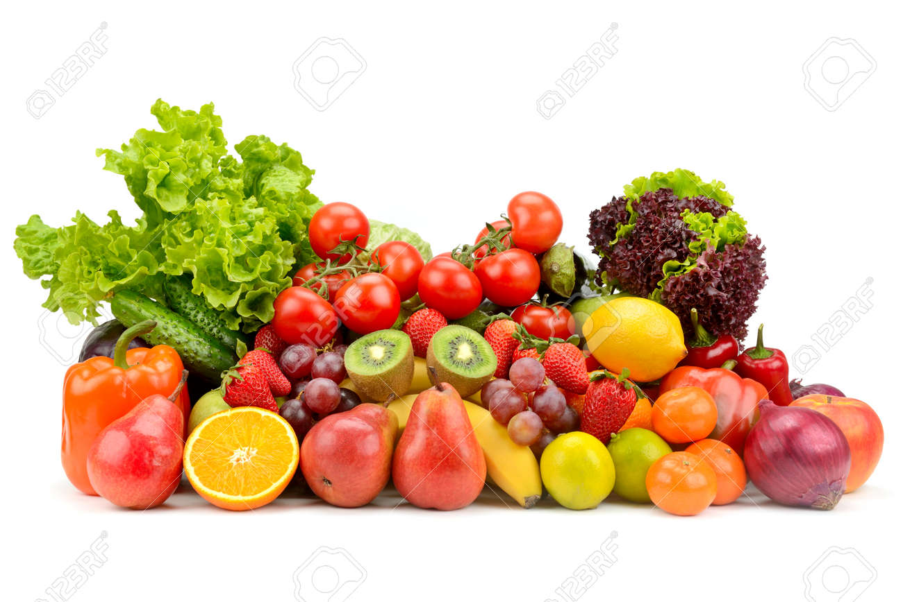 Variety healthy fruits, vegetables, berries isolated on white background. - 121168227
