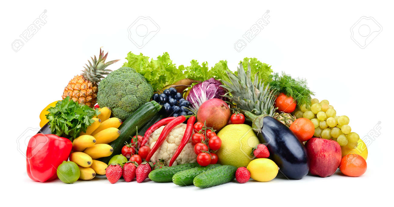 Variety healthy fruits, vegetables, berries isolated on white background. - 121168274